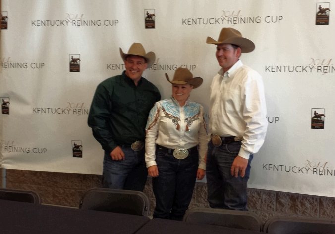 Kentucky Reining Cup Medalists: Shawn Flarida (gold), Mandy McCutchecon (silver), and Jordan Larson (bronze).