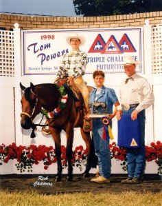 Harley D Zip, ridden by then-owner Brian Ale, and trainer Doug Pratt at the 1998 Tom Powers. Photo courtesy Doug Pratt