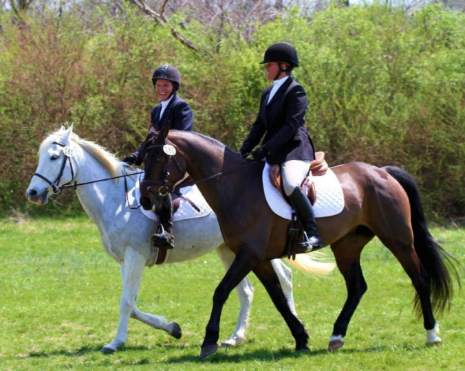 Marlise enjoying competing at her first three-day event with a fellow adult rider in 2015.