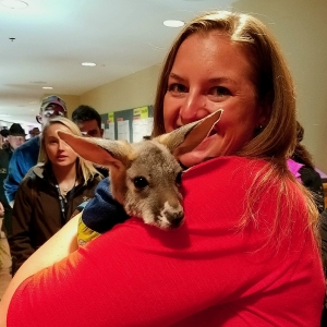 Sometimes the Futurity isn't just about the horses. This 5-month-old Kangaroo joey is named Rosie Roo, and she was attending her first Futurity with her owner.