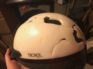 Train accident with helmet