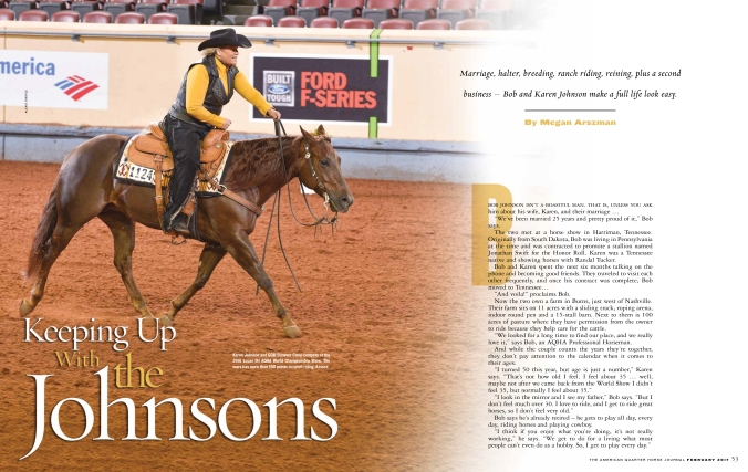 Bob and Karen Johnson feature in American Quarter Horse Journal