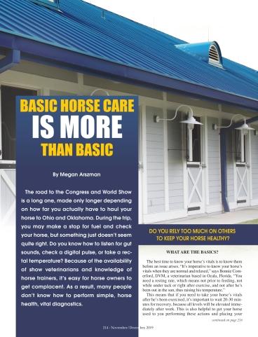 Equine Chronicle Basic Horse Care